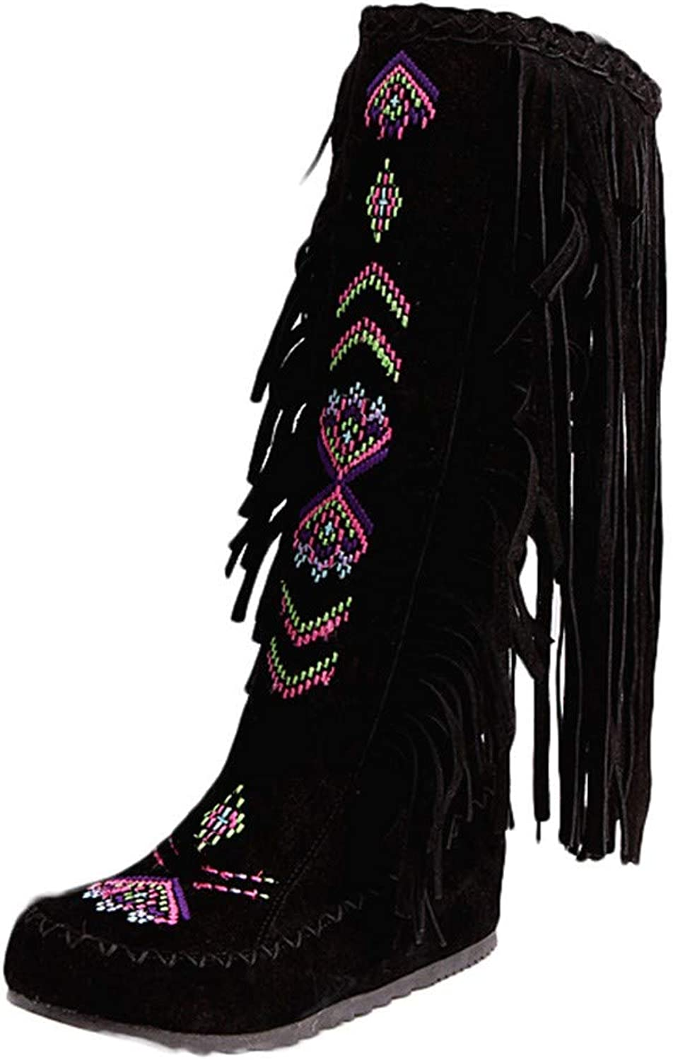 PENATE Women's Traditional Tassel Martin Boots Girl's Winter Warm Knee High Embroidery Wedge Snow shoes