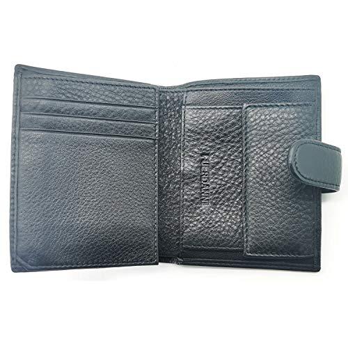 Fuerdanni Portemonnaie aus echtem Leder, schmale Geldbörse mit Druckknopf -  Schwarz -  Medium