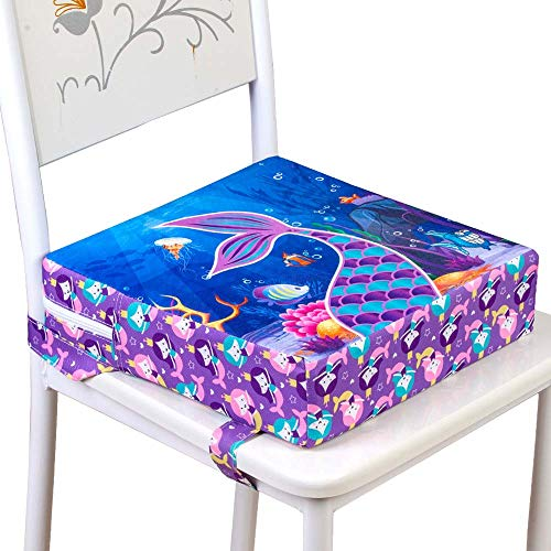 Toddler Booster Seat for Dining Table, Kids Portable Cushion - Mermaid
