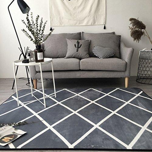 Innenteppich Moderner Wohnzimmer-Sofa-Karierter Teppich, Schlafzimmer-Kopfteil-Teppich, Schwarzes, Weiß, Grau JS5006 Decke (Farbe : 2#, größe : 190 * 195cm)