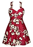 Holidys swimdress crossover one piece a bathing suit printed flower beachwear resistant swims skirt full colour for petite women with pretty gifts,Maroon Floral,3XL/16-18