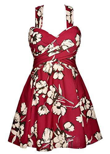COCOPEAR Women's Elegant Crossover One Piece Swimdress Floral Skirted Swimsuit(FBA) Maroon Floral 5XL/24-26