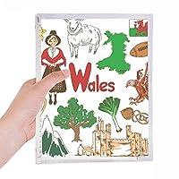 ウェールズの風景の英国国旗 硬質プラスチックルーズリーフノートノート