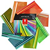 Arteza Holographic Self Adhesive Vinyl, 12x12 Inch, Set of 8, Blue & Green Opal Craft Sheets, Easy to Cut & Weed, for Indoor & Outdoor Projects, Compatible with Most Craft Cutters
