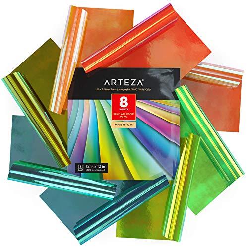 Arteza Hologramm Plotterfolie selbstklebend, 30.48 x 30.48 cm, 8er-Set Vinylfolie, mehrfarbige Opal-Bastelblätter in Rot und Rosa, leicht zu schneiden, Vinyl Klebefolie für Innen- und Außen