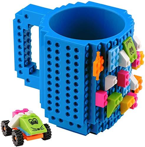 Bloques de Construcción Taza de café - Build on Brick Mug DIY Creativo Respetuoso del Medio Ambiente de los Bloques Huecos de plástico Taza de ladrillo Taza de café( 350ml) (Azul)