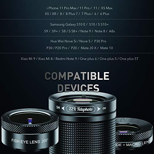 Apexel電話カメラレンズキット22倍望遠レンズ205°魚眼レンズHD120°広角プラスマクロレンズ4in1レンズキットiPhone11108766sPlusXXSXRサムスン対応