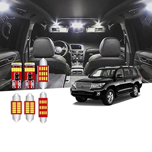 Kit de Paquete de lámpara de guantera de Maletero de Puerta de Mapa de cúpula de luz LED Blanca sin Error para Coche, para Placa de matrícula de Toyota Land Cruiser 2008-2016