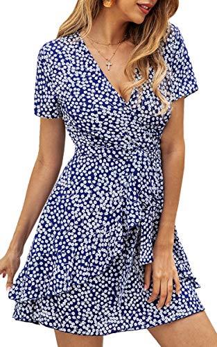 Spec4Y Damen Kleider V Ausschnitt Punkte Sommerkleid Rüschen Kurzarm Minikleid Strandkleid mit Gürtel Blau M