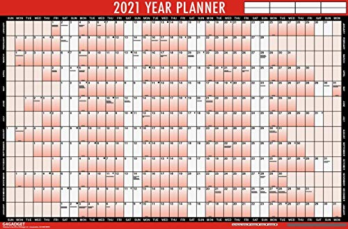 2021 A1 Laminated Yearly Wall Planner 85cm x 58cm Calendar with Sticker Dots (Red/Black)