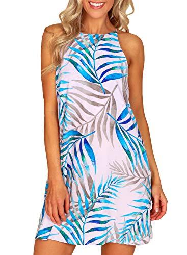 MITILLY Women#039s Halter Neck Boho Floral Print Loose Casual Sleeveless Short Dress Medium White