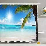 NotApplicable Cortina para Ducha Calma Palm Ocean Laguna Dominicana Costa Tranquila Coconut Sun Bay Palms Parques Naturales Arena Al Aire Libre Interior Hoteles Decorativos Patrón 183X183Cm Cor
