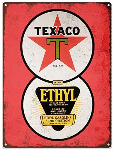 Yohoba Texaco Ethyl Benzine Metalen bord Ad Repro Gas Pomp Garage Winkel 12