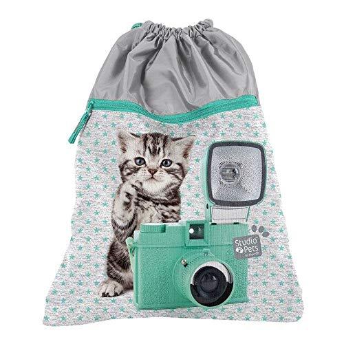 Premium Kinder Turnbeutel/SPORTBEUTEL 43x34 cm - Studio Pets - Katze MIT Kamera