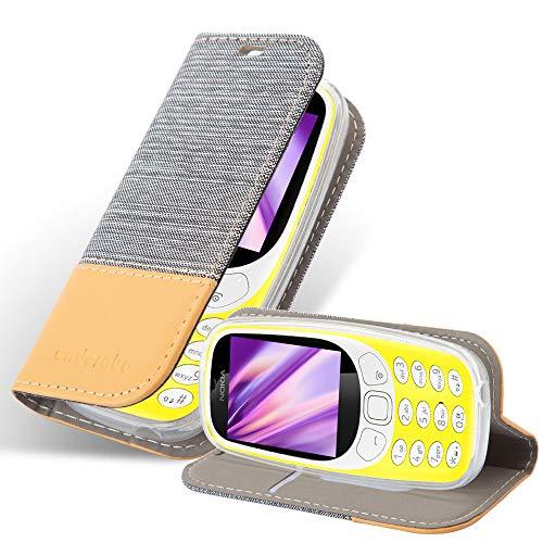 Cadorabo Hülle für Nokia 3310 in HELL GRAU BRAUN - Handyhülle mit Magnetverschluss, Standfunktion & Kartenfach - Hülle Cover Schutzhülle Etui Tasche Book Klapp Style