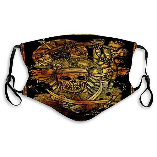Desecho de la boca Cubierta de la cara Anit Dust Shield Silueta dorada de Pirate Skull y Jolly Roger en horca Soga con brújula en