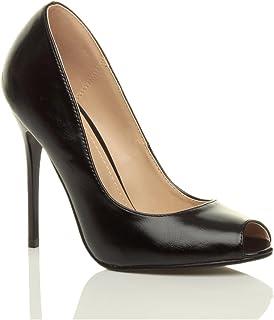 Ajvani Women's High Heel Peep Toe Court Shoes Pumps Size