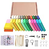 24 Colors Polymer Clay Starter Kit, DIY Modelling Moulding Clay, Baking Clay Blocks, 5 Sculpting Tools and Accessories
