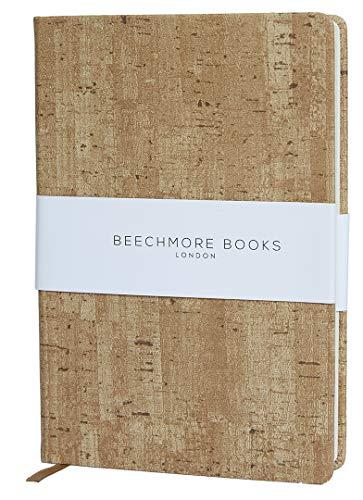 Liniertes Notizbuch - Hochwertiges Tagebuch A5 von Beechmore Books | Flexibler Einband Veganes Leder, Dickes Cremefarbenes Papier 120 g/m², Notizbuch in Geschenkschachtel, 21 x 15 cm (Kork-Design)
