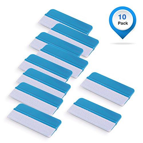 Gomake Vinyl Squeegee 10 Pack Mini Vinyl Wrap Felt Edge Squeegee Scratch Free for Car Vinyl Scraper Decal Applicator Tool Tint Film Wallpaper Tool Blue