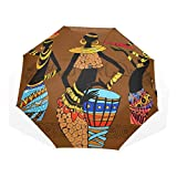 AOTISO Paraguas de Viaje automático Paraguas Plegable, Dibujado a Mano Hermosa Mujer Negra Africana A Prueba de Viento Ultra Ligero Paraguas de protección UV
