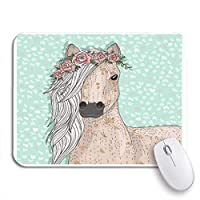 ROSECNY 可愛いマウスパッド クラウンかわいい馬の花おとぎ話の動物の毛のパターンヘッドノンスリップラバーバッキングコンピュータマウスパッド用ノートブックマウスマット