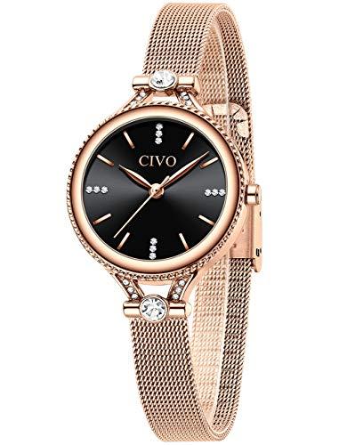 CIVO Relojes Mujers Reloj Delgado Ultra Minimalista Mujer Impermeable Oro Rosa Malla Acero Inoxidable Relojes para Mujer Elegante Simple Clásico Vestido Negocios Casual Relojes Analógicos Damas