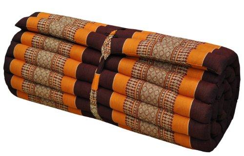 Materasso Thai L (Lung. 75cm), Tappeto, ', Relax, riposo, Gym, meditazione, yoga, spiaggia, piscina, fabbricato in Thailandia, marrone/arancione (81114)