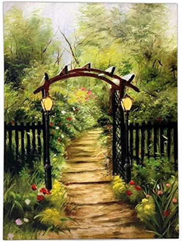 GTZXHNM Pintura por Números Jardín Flores árbol Paisaje para Adultos y niños Pintar DIY al óleo de Bricolaje con Marco Pinceles Principiantes Hogar Lienzo Decoraciones Colores Acrílica Conjunto Casa