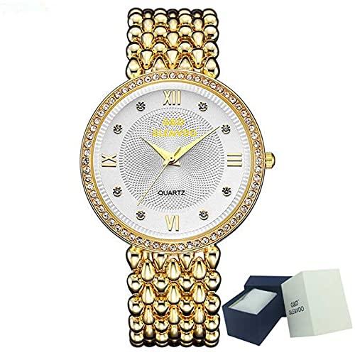 XQKXHZ Reloj para Mujer con Diamantes y Brazalete Metal, Relojes Cuarzo Analógicos de Moda,Cronometraje Preciso, para Reunión Familiar Festival, Gold 1