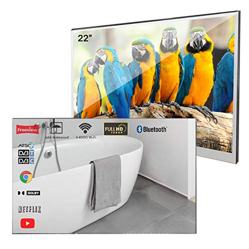 Soulaca Velasting 22 inches Updated Bathroom Magic Mirror LED TV Android 7.1 Waterproof Embedded Shower Television Bluetooth Available (22 inches, Mirror)