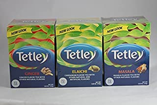 Tetley Tea Variety Bundle - 3 Items (Tetley Tea Elaichi, Tetley Tea Ginger and Tetley Tea Masala) by Tetley