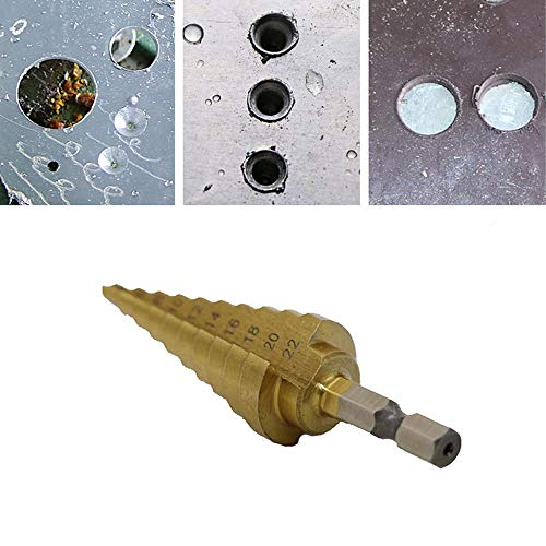 Ywoow 4-22MM HSS 4241 Hex Titanium Cone Drill Bit Hole Cutter for Sheet Metal