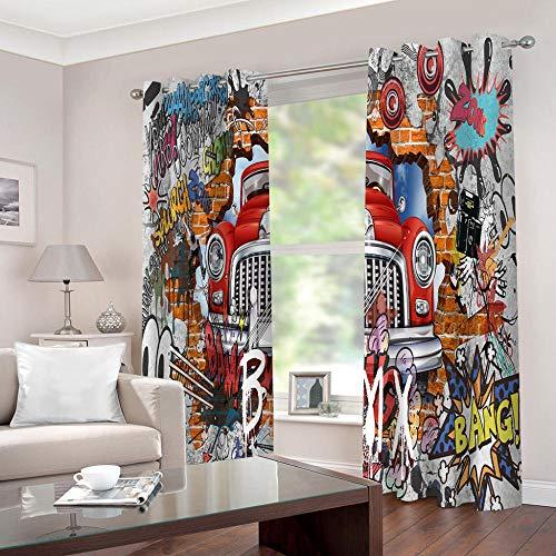 WAFJJ blickdichte vorhänge für Kinder Graffiti & Auto Verdunklungsgardine mit Ösen für Wohnzimmer Schlafzimmer Kinderzimmer, Wärmeschutz & Geräuschreduzierung für Zimmer Größe:2 x B75 x H166cm