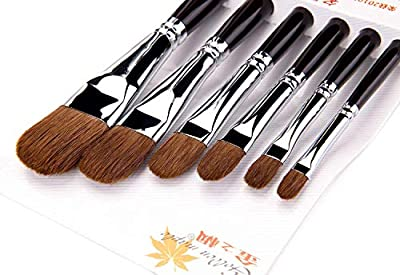 Sable Artist Filbert Paint Brushes - Set of 6 Watercolor Brushes for Acrylic Oil Paint by Numbers, Professional Art Supplies Suitable for Beginner, Students
