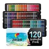 120 Crayons Aquarellables, Numérotés, avec Boite Métal Zenacolor - Set de Crayon de Couleurs Aquarelle - 120 Crayon de Couleurs Professionnel, Solubles et Différents
