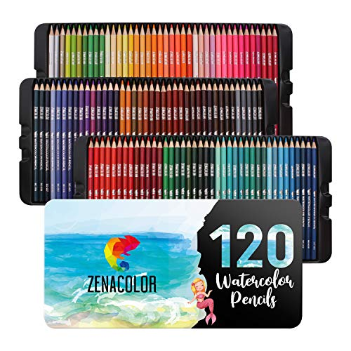120 Zenacolor Watercolor Pencils Painting Kit with Metal Case - Watercolor Paints Watercolor Pencil Set - Professional Watercolors Art Supplies for Adults and Kids