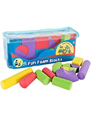 Hey! Play! Kids Foam Building Blocks – Stacking Toys for Children Nontoxic EVA Shapes Creative Design Quiet Time Play Educational Sensory Toy