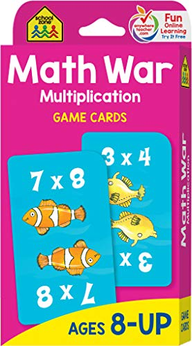 Compare Textbook Prices for School Zone - Math War Multiplication Game Cards - Ages 8+, 3rd Grade, 4th Grade, 5th Grade, Math Games, Beginning Algebra, Multiplication Facts & Tables, and More Game Cards Edition ISBN 0076645050328 by School Zone,Joan Hoffman