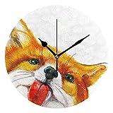 かけ時計 壁掛け 壁掛け時計 スイープ(連続秒針)静音 デザイン 北欧 インテリア おしゃれ 部屋装飾キツネの水彩画