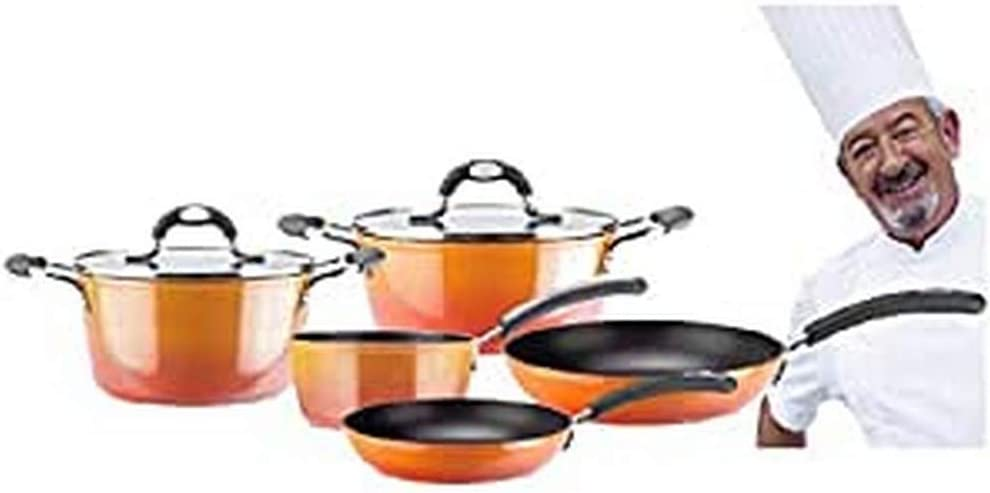 VITREX 71PACAFUE24 71PACAFUE24-Olla Gourmet de Aluminio Full Induction Modelo Fuego de 24x11 cm, Metal, Naranja, 24 cm