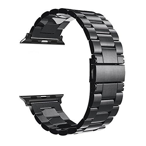 Simpeak Armband Kompatibel mit Apple Watch 44mm 42mm, Edelstahl Uhrenarmband Ersatz Armbänder mit Metallschließe Kompatibel für Apple Watch Series 5/4/3/2/1 - Schwarz