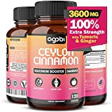 Certified Organic Ceylon Cinnamon Capsules 3600 mg - Added Ginger Root and Turmeric Curcumin Extract - Natural Brain Support and Sugar Balance Herbal Supplement - Anti Inflammatory-120 Vegan Capsules