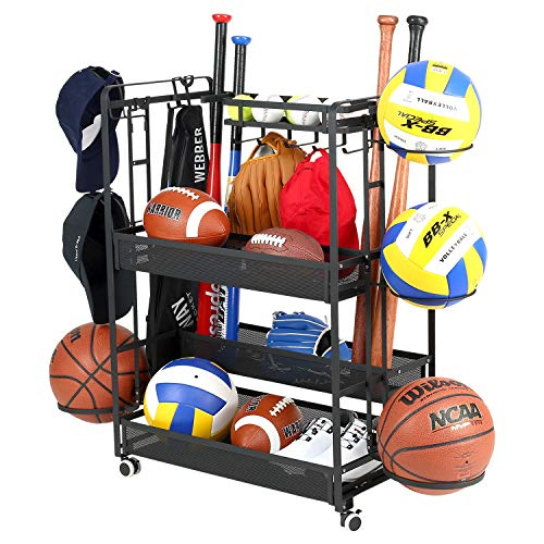 Jubao Garage Ball Storage Rack Rolling Sports Rack Organizer,Indoor Sports Gear Storage with Baskets and Hooks,Outdoor Sports Equipment Organizer with Cap Holder, Black Steel