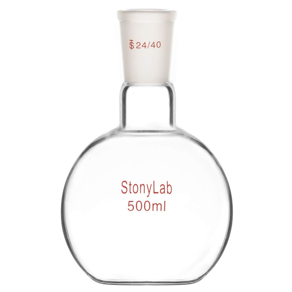 StonyLab Glass Ranking TOP9 500ml Heavy All stores are sold Wall Bottom Single Boiling Neck Flat