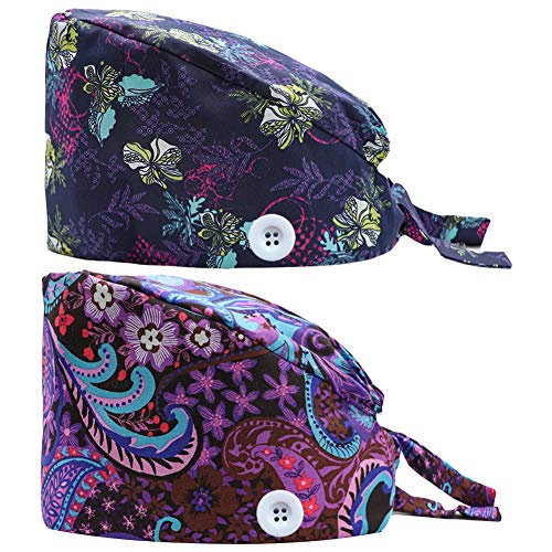 2PCS Cute Printed Working Cap with Button, Adjustable Tie Back Hats Head Covers for Women Men, One Size (Flowers)