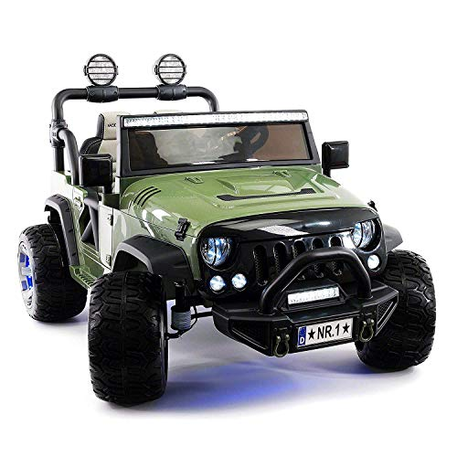 12 Volt Explorer Truck Battery Powered Led Wheels 2 Seater Children Ride On Toy Car for Kids Leather Seat MP3 Music Player with FM Radio Bluetooth R/C Parental Remote Product Name (Olive)