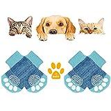 KATELUO 4Piezas Calcetines de Perro Antideslizantes,Calcetines de Perro/Gato,Calcetines de Mascotas con Refuerzo de Goma-Control de Tracción/Usar en Interiores/Ajuste para Perro Grande y Medio(M,Azul)