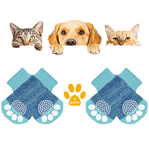 KATELUO 2Paar Anti-Rutsch Hundesocken,Indoor Anti-Rutsch Socken für Hunde und Katzen,Haustier Socken,Hundesocken mit Gummiverstärkung für Pfotenschutz und Traktionskontrolle (M, Blau)