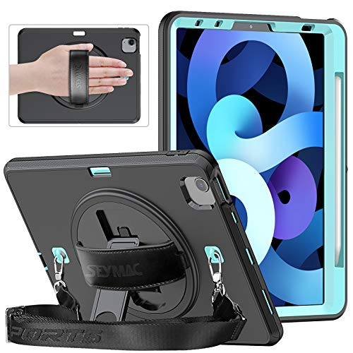 """SEYMAC Slim Case for iPad Air 4th Generation 10.9"""" & iPad Pro 11 2020/2018, Heavy Duty Shockproof Case with 360°Rotating Stand/Hand Strap, Screen Protector, Pencil Holder for iPad Air 2020,Light Blue"""